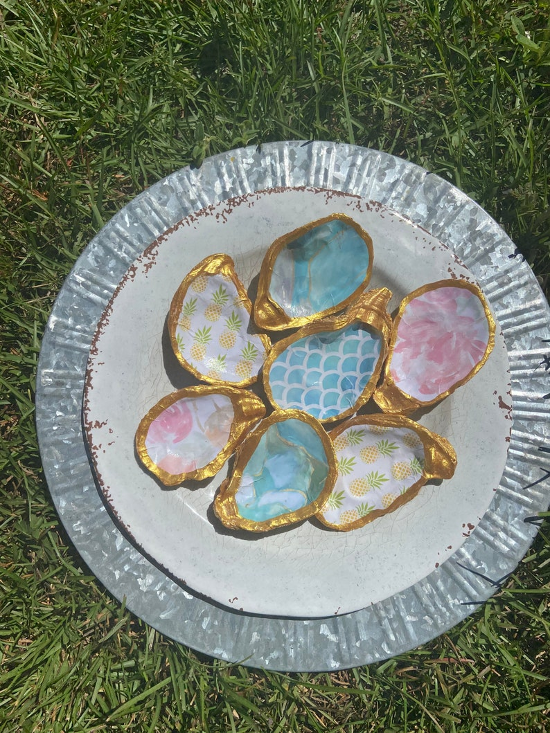 Coastal Decor Decoupage Trinket and Decorative Jewelry Holder Bridesmaids Hostess Wedding Gift Ideas Oyster Shell Statement Jewelry Dish