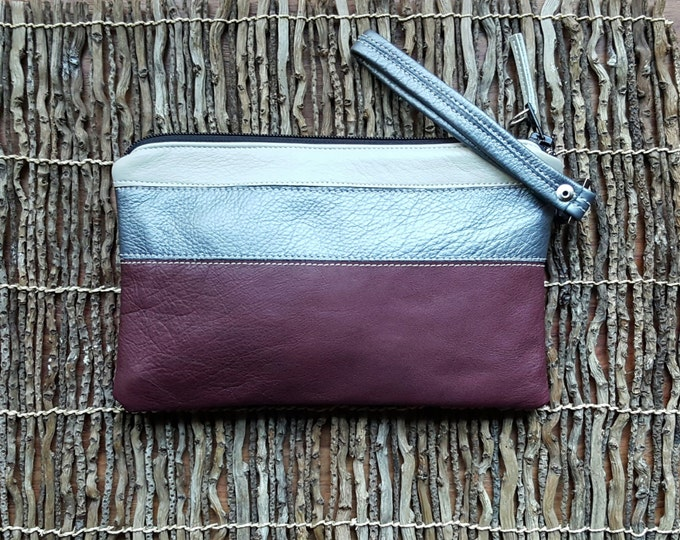 Soft Leather Wristlet in Burgundy / Silver / Cream