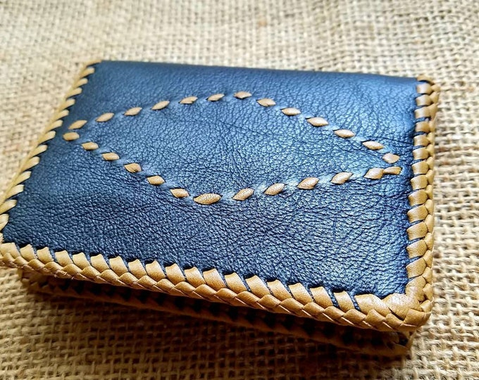 Wallet / Leather Wallet / Leather Men's Wallet/ Father's Day Gift/ Minimalist Leather Wallet in Black and Tan