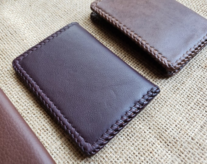 Wallet / Leather Wallet / Leather Men's Wallet/ Father's Day Gift/ Minimalist Leather Wallet in Deep Plum