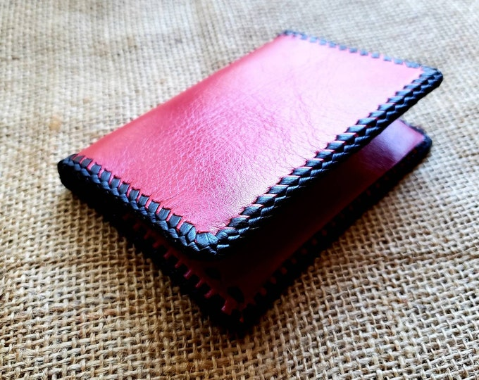 Wallet / Leather Wallet / Leather Men's Wallet/ Father's Day Gift/ Minimalist Leather Wallet in Red and Black