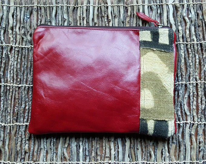 Leather Wristlet w/ Mud Cloth
