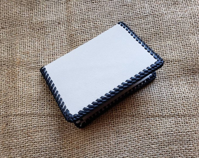 Wallet / Leather Wallet / Leather Men's Wallet/ Father's Day Gift/ Minimalist Leather Wallet in Gray Hue and Black
