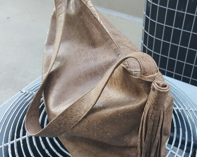 ON SALE!! Ostrich in Tan Leather / Handbag / Day Shopper / Overflow Bag / Tote / Purse / Overnight Bag