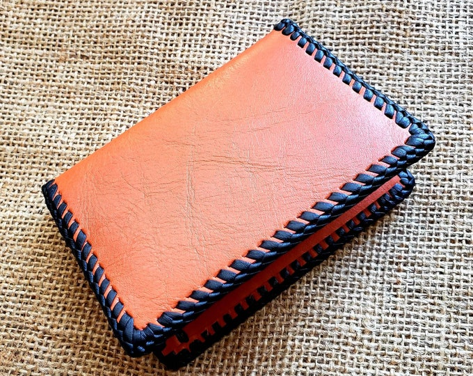 Wallet / Leather Wallet / Leather Men's Wallet/ Father's Day Gift/ Minimalist Leather Wallet in Tangerine and Black