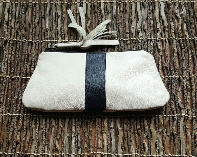 Leather Hand Clutch / Leather Wedding Day Clutch / Leather Cosmetic Case / Leather Hand Wallet in Cream White