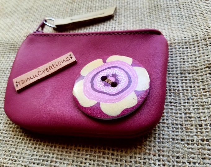 Handmade Leather Pink Pouch / Coin Purse  / Leather Pink Wallet / Credit Card Pouch / Business Card Pouch