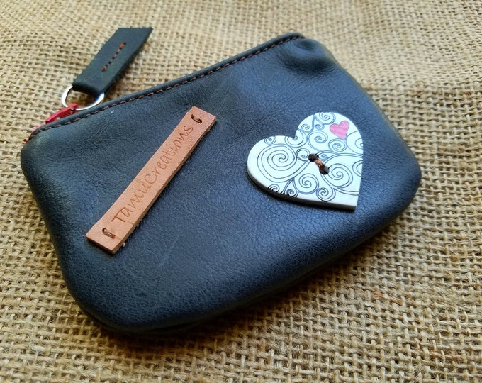 Handmade Leather Black Pouch / Coin Purse  / Leather Black Wallet / Credit Card Pouch / Business Card Pouch
