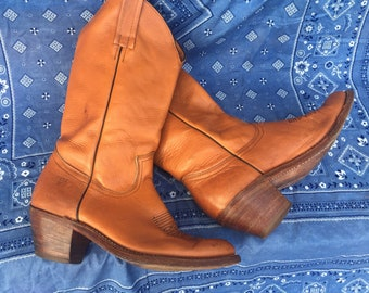 Vintage leather Frye boot | Western Boot | Cowgirl | Rodeo | Campus Boot | Size 8.5