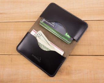 5bd3f297fa8768 Bifold Card Holder as a Minimalist Credit Card Wallet for Groomsman or Slim  EDC Personalized with a Monogram In Horween Black Leather