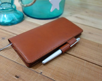 Hobonichi Techo Weeks Leather Planner Cover, Pen Loop Closure, Card Pockets, Receipt Pocket, Chestnut Leather, Medium Brown Stitching, Slim