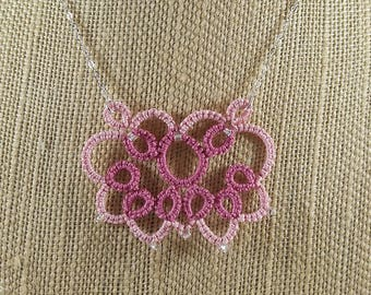 """Lace Butterfly Tatted Necklace, Rose pinks, Handmade lace jewelry, Sterling silver chain, 18"""""""