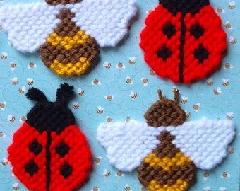 Plastic Canvas: Ladybugs and Bumblebees Magnets (set of 4 -- 2 ladybugs and 2 bumblebees)