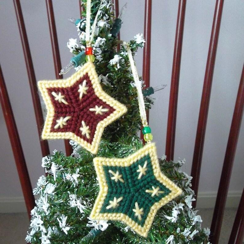 Plastic Canvas Christmas Ornaments.Plastic Canvas Christmas Ornaments Country Holiday Stars Set Of 2