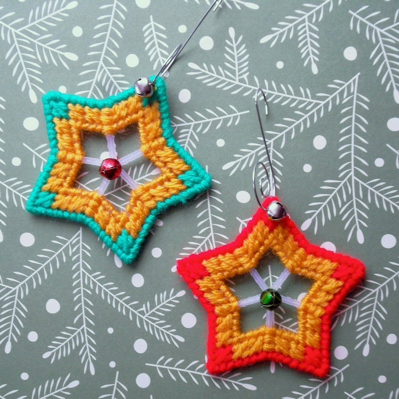 Etsy Christmas Ornaments.Plastic Canvas Christmas Ornaments Jingle Stars Set Of 2