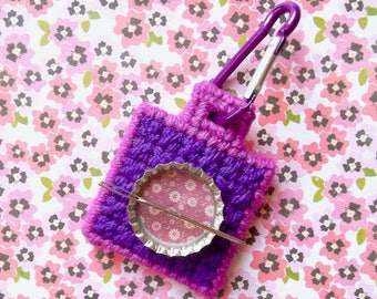 "Plastic Canvas: ""Spring Posies"" Needle Minder (carabiner included)"