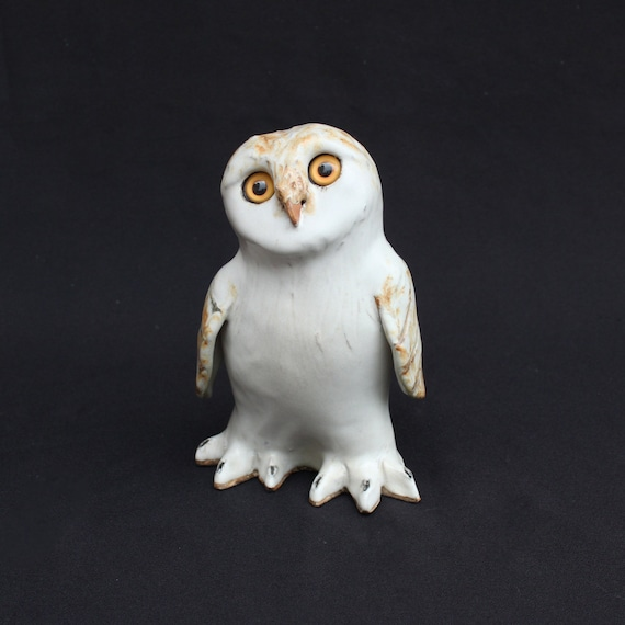 Handmade Clay Owl Ceramic Bird Cute White Owls Unique Gift Etsy