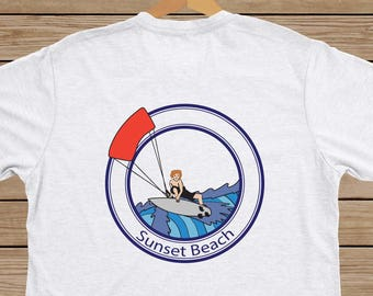 Custom Kiteboard T-shirt - Create With Your Favorite Kite Spot - Change Colors of Kite, Board and Guy by Request - 100% Pre-shrunk Cotton