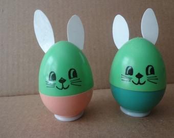 Two Plastic Bank Advertising Rabbits, East Girard Bunnies  FS