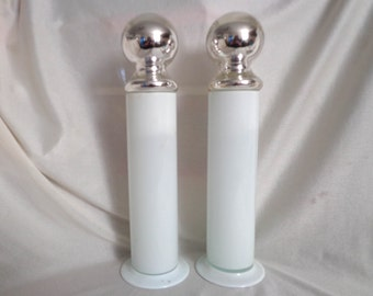 Pair of Large Vintage Case Glass Bottles with Mercury Glass Lids, 1930's or 1940's