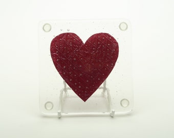 Set of 2 Handmade Fused Glass and Copper Heart Coasters