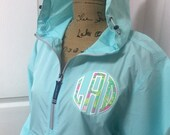 Appliqued Charles River Light Weight 1 4 Zip Rain Jacket (Lilly Pulitzer Fabric)