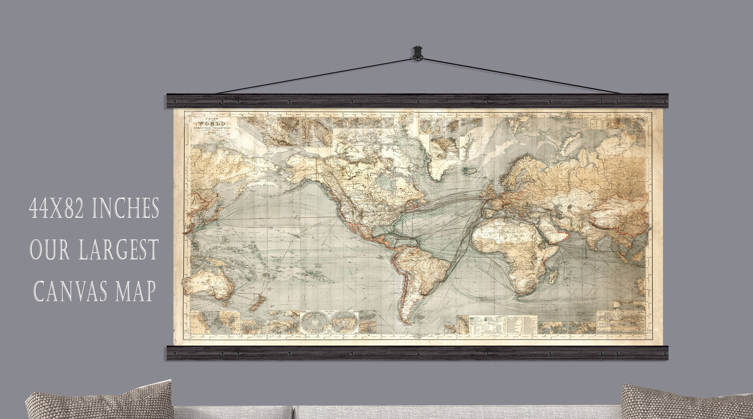 Vintage World Map. Canvas Hanging Map Or Pull Down Map. 44h ...