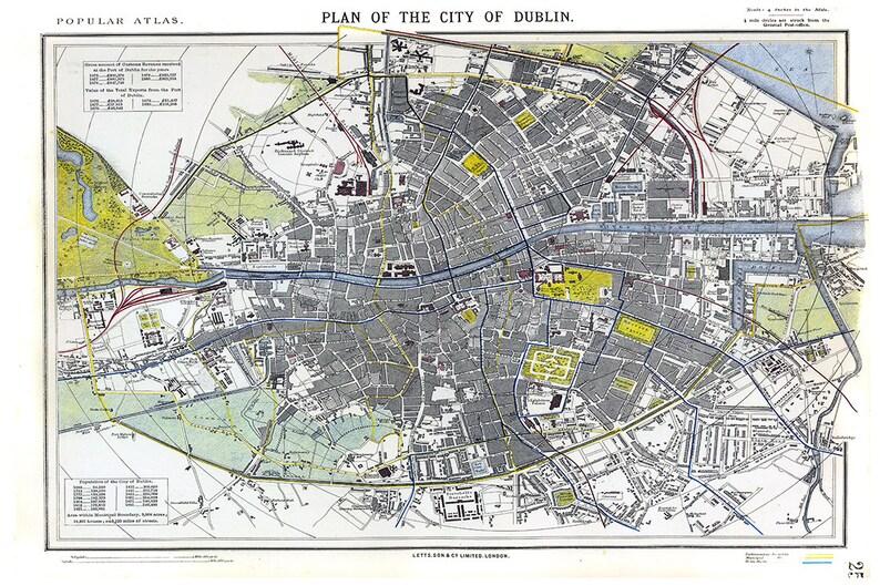 Map Of Ireland Poster.Dublin Map Ireland Map Irish Map City Of Dublin Ireland Etsy