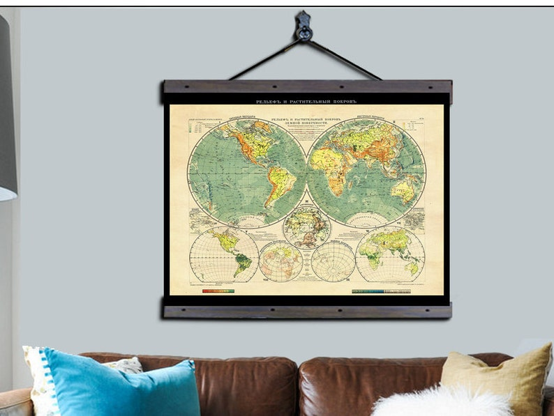 Roll Down World Map.Pull Down Map Russian Map 1909 48w X 36h Etsy