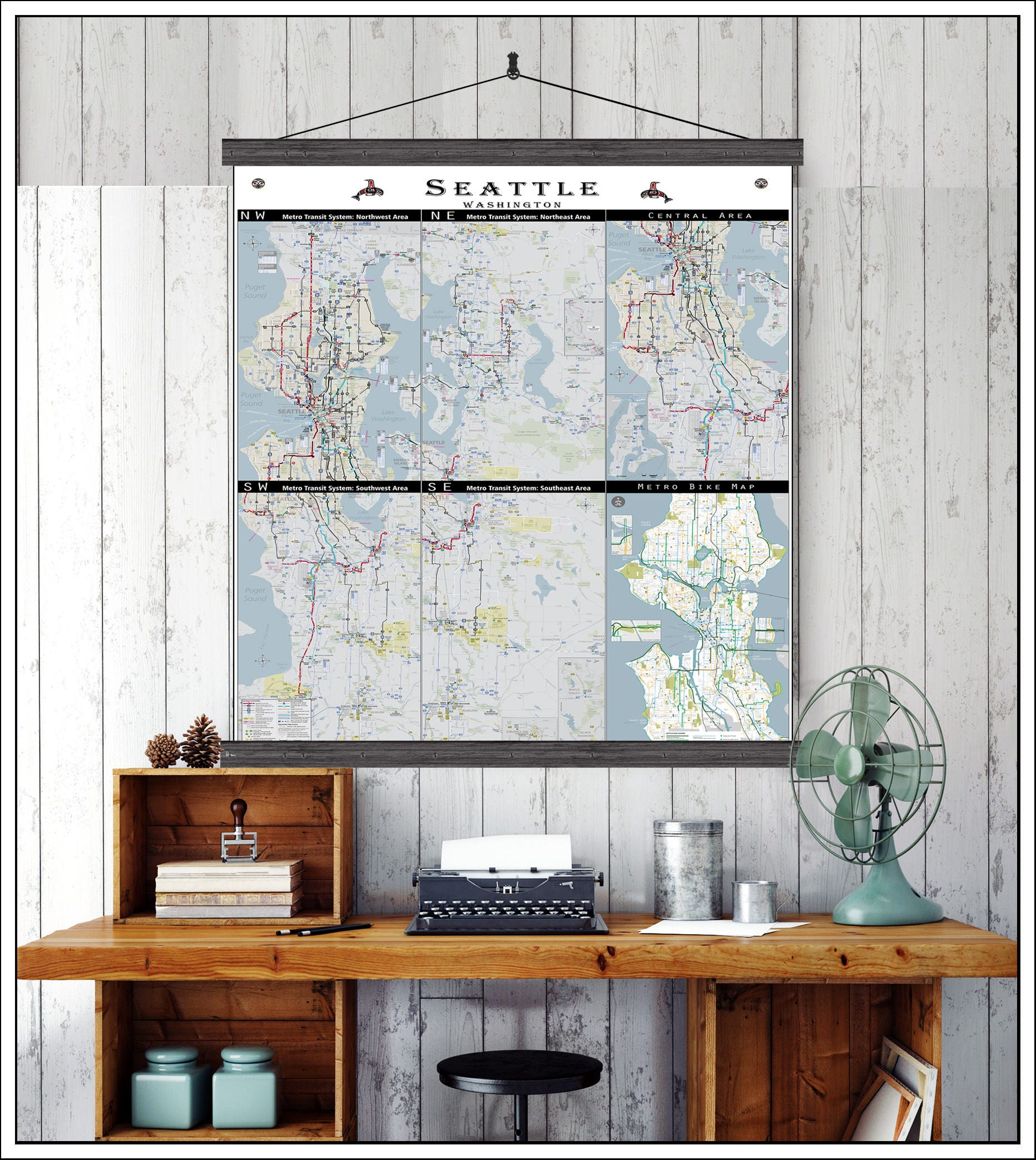 Subway Map Bike.Seattle Map 40x60 Up To 5x8ft Map Seattle Metro Map Subway Map