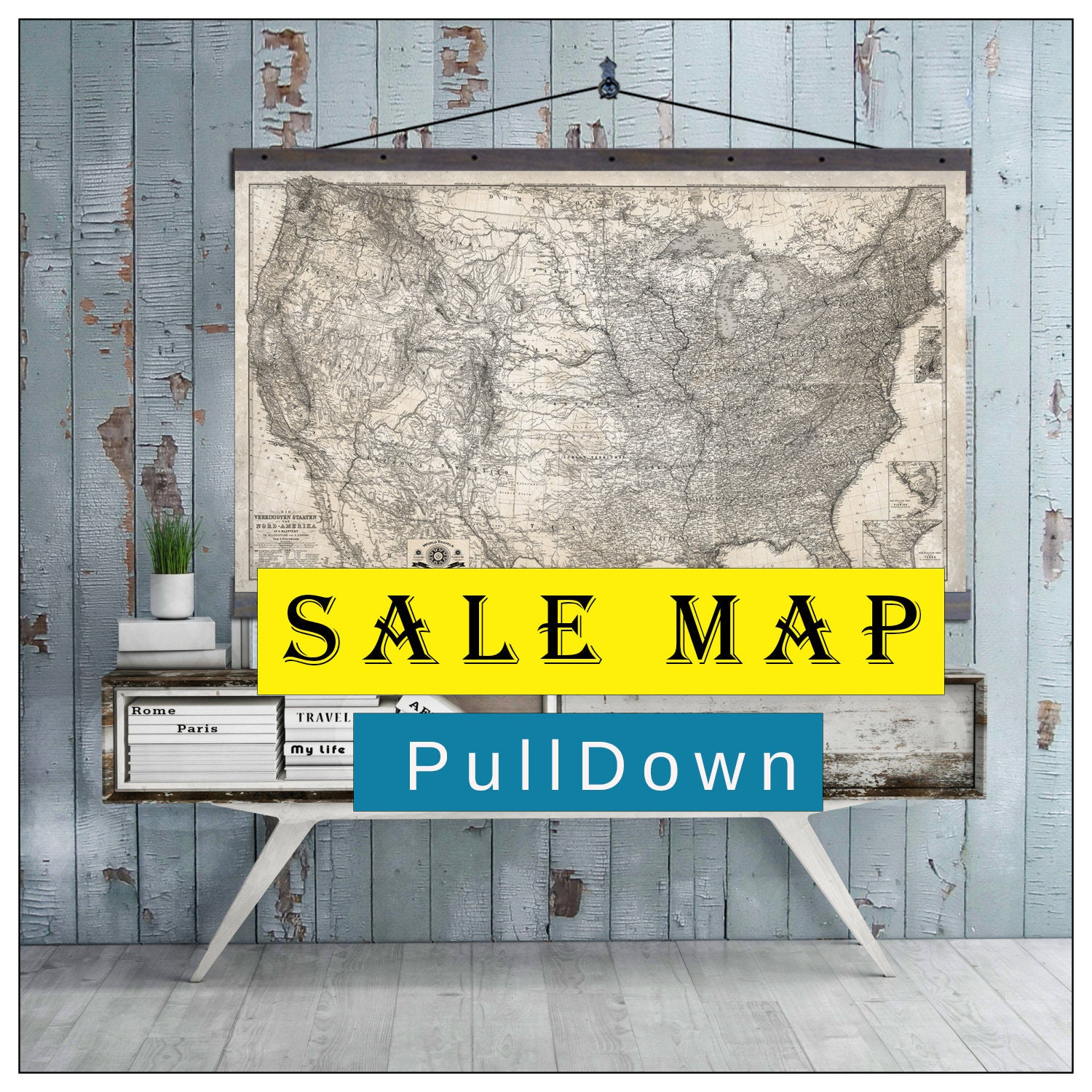 Sale Map Usa Map Pull Down Map 60h X 44w Vintage 1873 United