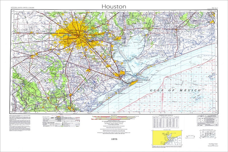 Houston Map Map Of Houston Texas Map Houston Texas Topo Etsy