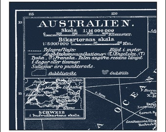 Blueprint world map etsy australia map map of australia sydney perth blueprint map world map malvernweather Images