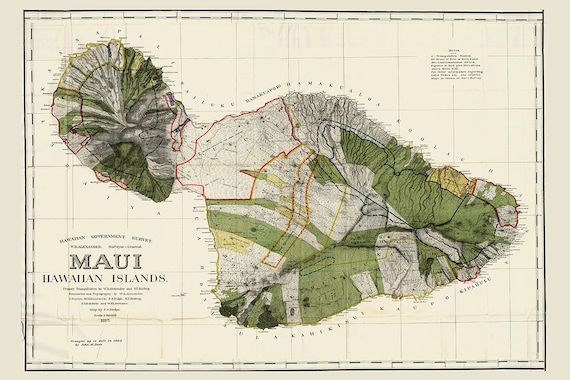 Hawaii Map Maui.Maui Hawaii Map Hawaiian Map Maui Oahu Map Hawaii Vintage Etsy