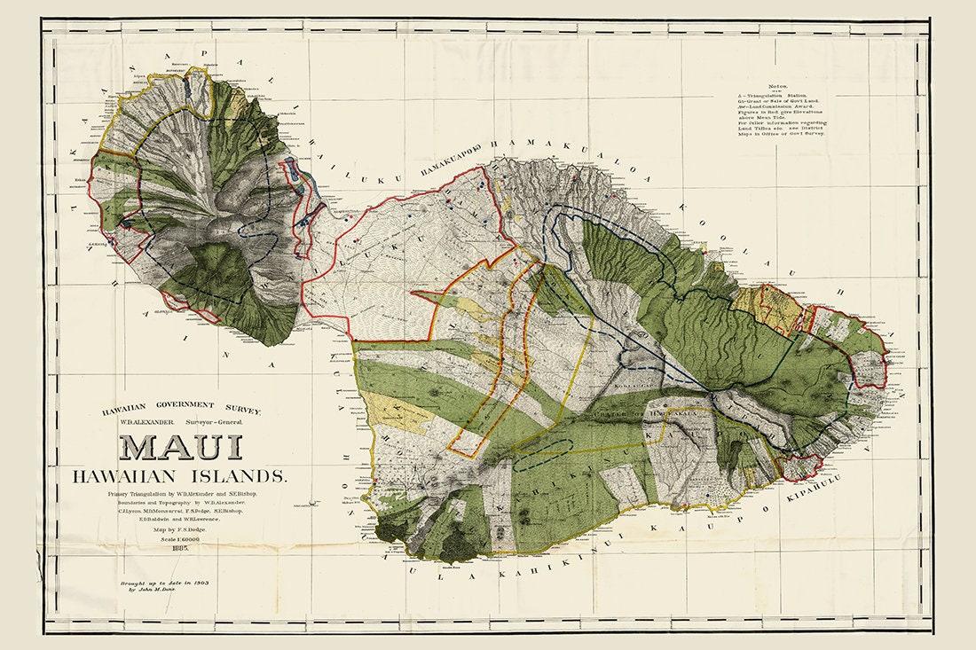 Maui HAWAII Map, Hawaiian Map, Maui, Oahu Map, Hawaii, Vintage Map ...