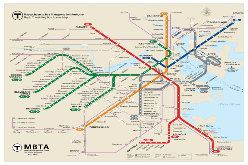 Boston Subway Map With Hotels.Boston Subway Map Boston Metro Map Subway Map Boston Map Subway Art Mbta Map Updated For 2018