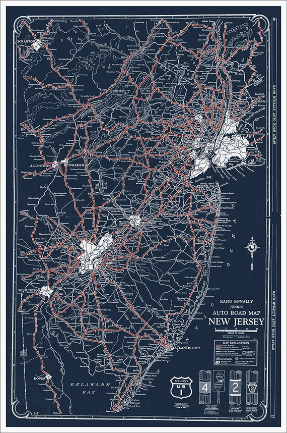 New Jersey Map, Map of New Jersey, NJ, Blueprint map, Vintage Map, Antique  Map, 1927 Road Map of New Jersey