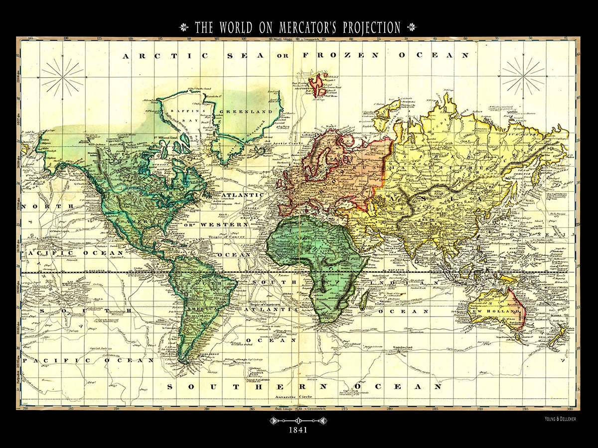 Pull down map world 1841 48w x 36h school chart school map wall 48w x 36h school chart school map wall chart hanging map antique wall map map the world gumiabroncs Image collections
