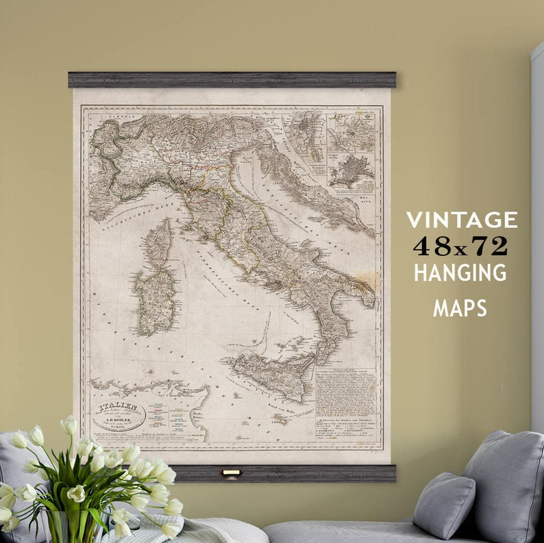 Vintage Map of Italy. 1848 Large Hanging Wall Map of the | Etsy on