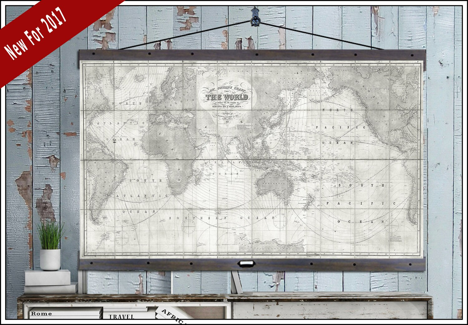 Vintage Pull Down Map Large World Map World Map On Canvas 1910