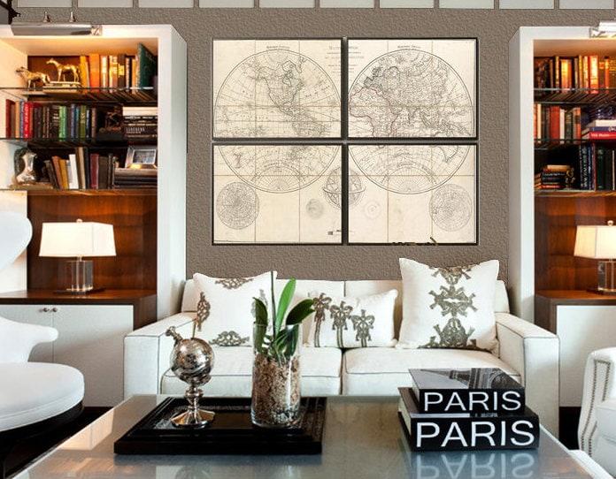 Mappe Monde 1800 World Map Set Of 4 Prints 16x20 18x24 Or24x36