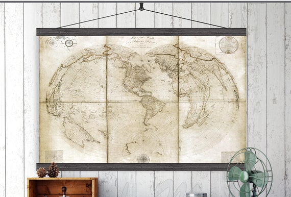 Vintage Pull Down Map World Map On Canvas 1850 60w X Etsy
