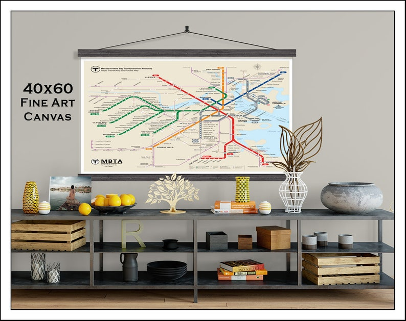 Subway Map Art Boston.Boston Subway Map Boston Metro Map Subway Map Boston Map Subway Art Mbta Map Updated For 2018