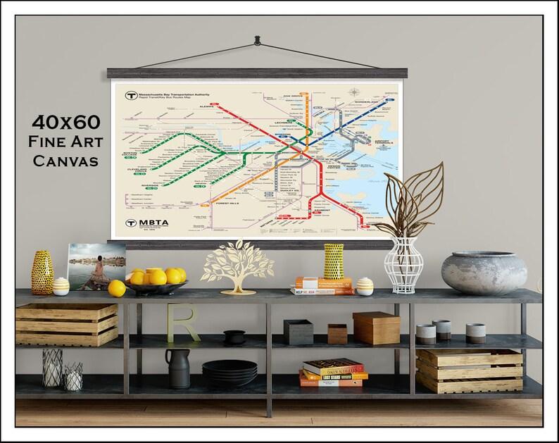 Updated Subway Map.Boston Subway Map Boston Metro Map Subway Map Boston Map Subway Art Mbta Map Updated For 2018