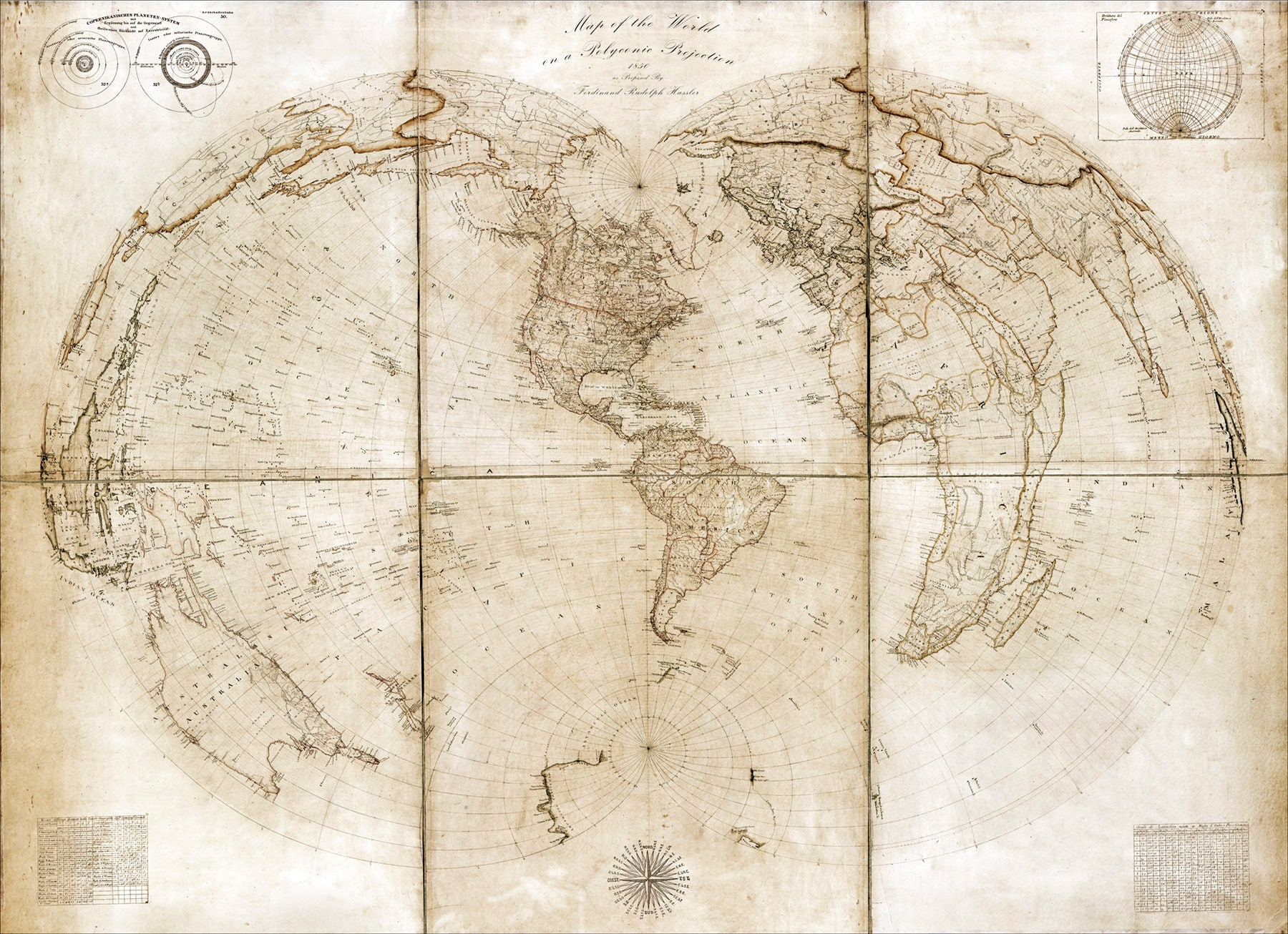 Vintage Pull Down Map World Map On Canvas 1850 60w X 40h School