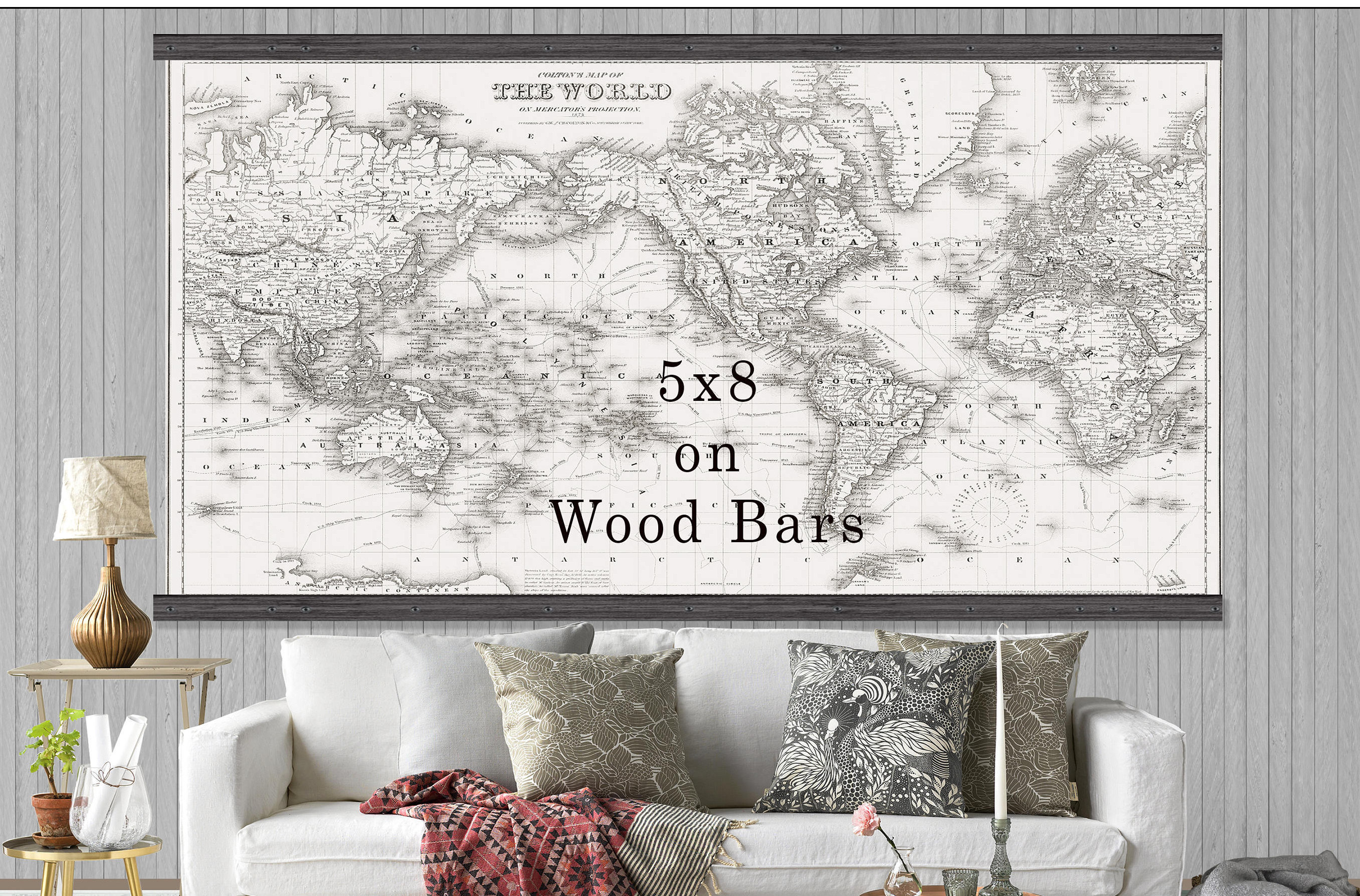 Large Vintage World Map World Map In Antique Whites World Map