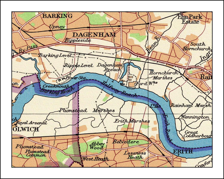 London Map Vintage London Pull Down Map 1922 48w X 36h School