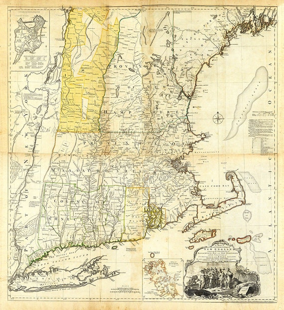 New England Map. Boston Map. Pull Down Map. Vintage Map 1776, 44