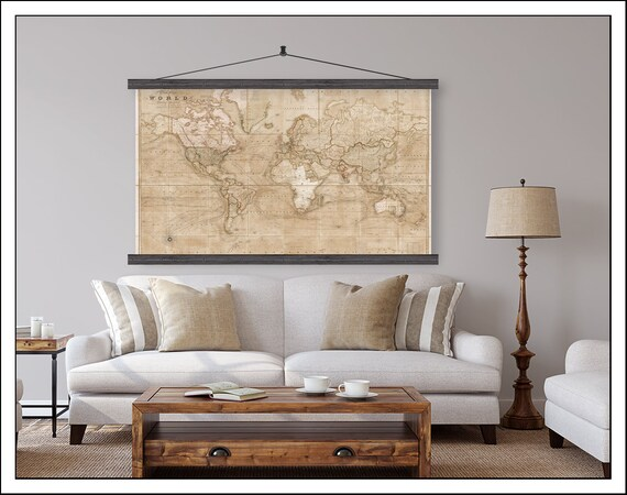Vintage Pull Down Map Large World Map World Map On Canvas Etsy