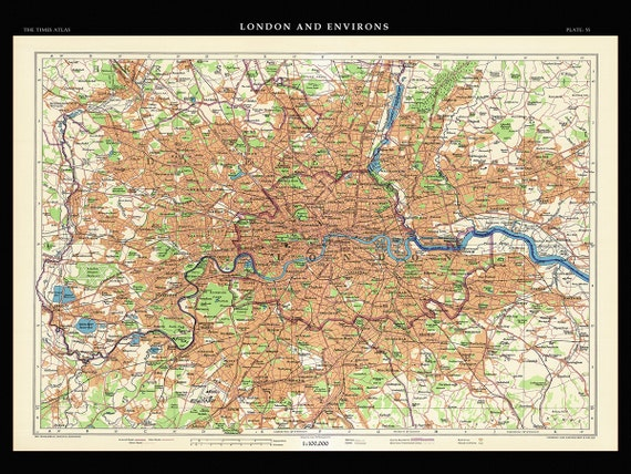 London Map Vintage London Pull Down Map 1922 48w X Etsy